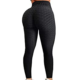 A AGROSTE Women's High Waist Yoga Pants Tummy Control Workout Ruched Butt Lifting Stretchy Leg