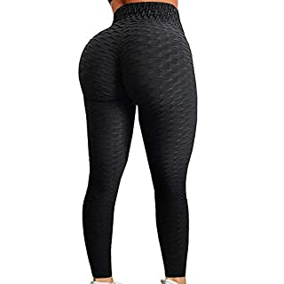 A AGROSTE Women's High Waist Yoga Pants Tummy Control Workout Ruched Butt Lifting Stretchy Leggings Textured Booty Tights