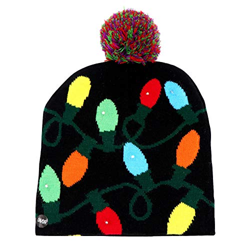 Wmbetter LED Light-up Christmas Hats Xmas Santa Ugly Hat Beanies 10 Colorful Lights Flashing Cap for New Year Party, Dark Blue - Beanie 8.5 Cap