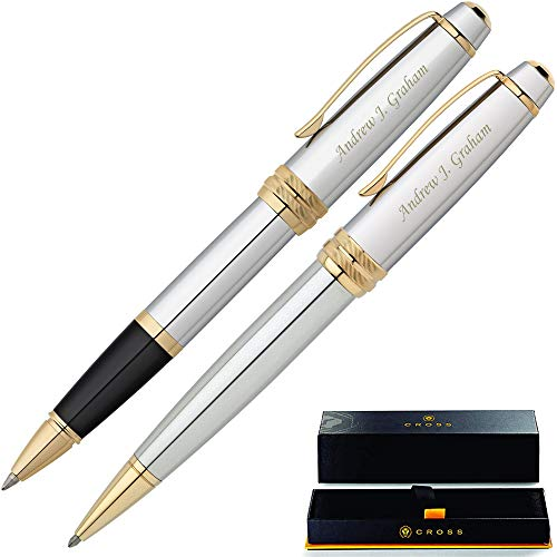Cross Pen Set | Personalized Cross Bailey Medalist Rollerball and Ballpoint Gift Pen Set. Custom engraved fast! Pen Case included.