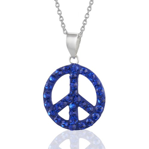 Necklace Heart Peace Sign (925 Sterling Silver Blue Crystal Glass Symbolic Small Round Peace Sign Pendant Necklace, Children's & Teens 16