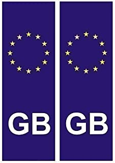 Front and Back Euro GB Badge Car Number Plate, Vinyl