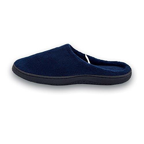 Pantofole Da Uomo In Velluto Di Corallo Memory Foam Suola In Gomma Pantofola Interna / Esterna Blu Navy