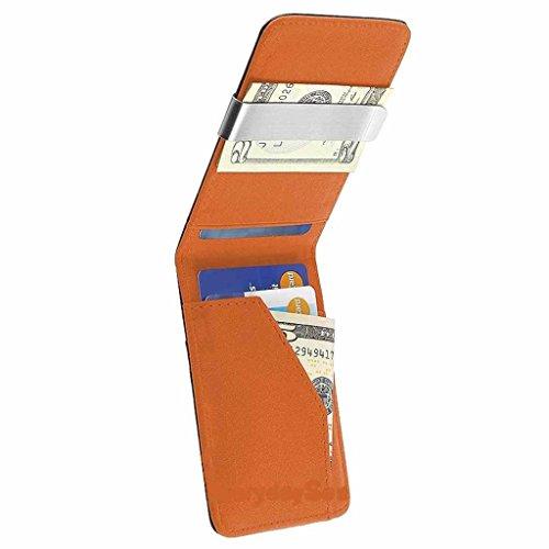 Wallet Mens Genuine Leather Silver Money Clip Slim Wallets Black ID Credit Card Holder-Black Orange