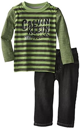 Calvin Klein Baby Boys' Striped Tee and Jean Set, Green, 12 Months