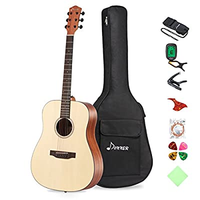 "Donner Beginner Acoustic Guitar Full Size, 41"" Guitar Bundle with Gig Bag Tuner Capo Picks Strap String"