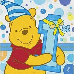 Pooh's First Birthday Boy Lunch Napkins, 16ct 1st Birthday Lunch Napkins