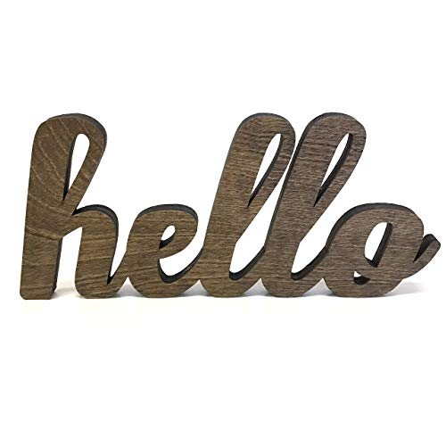 (Wood Hello Cutout Sign Made of Birch Plywood Stained Dark)