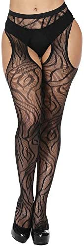 Womens High Waist Fishnet Tights Suspenders Pantyhose Thigh High Stockings Black