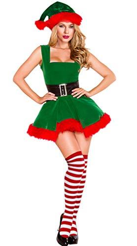 Faux Lace Up Back Stocking - Kimring Women's Mrs Santa Claus Suit Christmas Elf Costume Outfit Velvet Dress