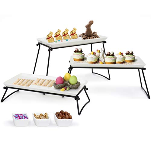 (Elegant 3 Tier Serving Stand- New 2019 Model – 3 X-Large Ceramic Plates (13.5