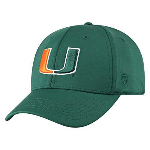 World Miami Hurricanes Green - Top of the World Miami Hurricanes Men's Fitted Hat Icon, Green, One Fit
