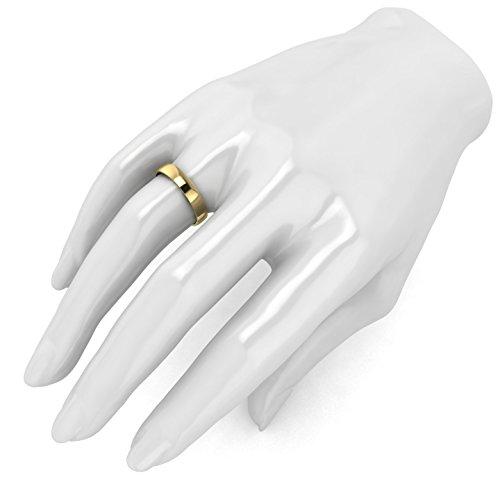 Unisex 14k Yellow Gold 4mm Light Court Shape Comfort Fit Polished Wedding Ring Plain Band (7) by LANDA JEWEL (Image #3)