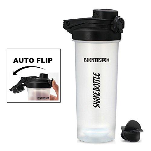 Bonison 24 Oz Shake Bottle with Flip Top Spout, Mixer Ball to Mix Protein Powder Easy Shaker Water Bottle ()