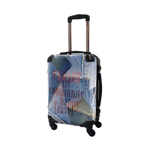 [キャラート] アート スーツケース 機内持込可 保証付 31L 57cm 3.2kg CRA01H-025E コラージュブルー3 コラージュブルー3 B01MD1JNBN