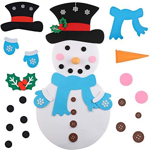 Funpa Felt Christmas Snowman 3.2ft DIY Christmas Snowman Games with 31PCS Ornaments Wall Decor for Kids Xmas Gifts Home Decoration (Snowman)