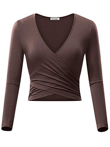 VETIOR Going Out Tops for Women, Long Sleeve V Crop Top Slim Fit Sexy Wrap Top Coffee