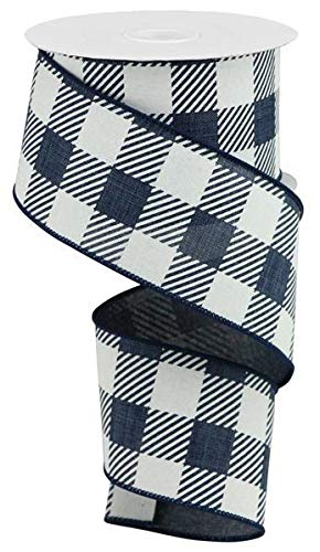 - Large Striped Check Wired Edge Ribbon - 10 Yards (Navy Blue, 2.5