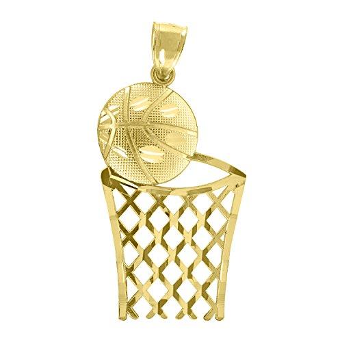 - 14kt Yellow Gold Unisex DC Basket Ball Sports Pendant Charm