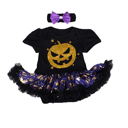 BabyPreg Infant Girl's First Halloween Pumpkin Dress, Baby Thanksgiving Dress (Black Face, XL for 12-18months) ()