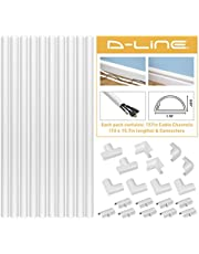 """D-Line 157in Cord Cover Kit, Self-Adhesive Wire Hiders, Paintable Cable Raceway to Hide Wires on Wall, Electrical Cable Management - 10x 15.7 Lengths & 19 Accessories - 1.18"""" (W) x 0.59"""" (H) - White"""
