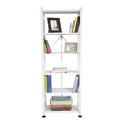 Origami 6-Shelf Bookcase | Open Style, Organizer Deco Rack, Large Book shelf, Tall Bookcase, Living room shelving, Freestanding, No assembly/no tools required, Modern Vertical Furniture | White