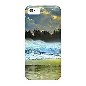 Awesome Design Large Waves Battering Beach Hard Case Cover For Iphone 5c