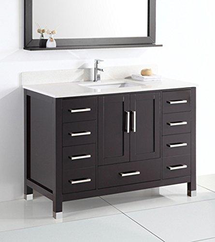 Bathroom Vanity Modern Espresso (Belvedere Bath L9031 Modern Freestanding Bathroom Vanity W/Marble Top, Espresso, 48