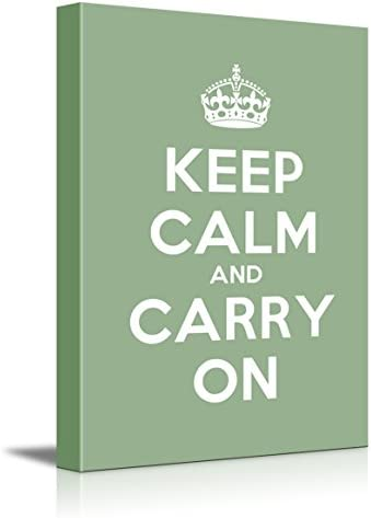 Keep Calm Carry on Stretched Olive Home Décor 12 L X 18 W Green