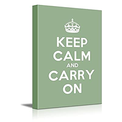 Keep Calm and Carry On Stretched Olive Green 16