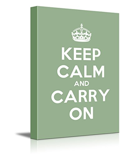 Keep Calm and Carry On Stretched Olive Green