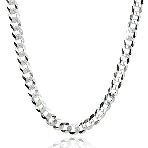 Sterling Silver Italian 4mm Diamond-Cut Cuban Curb Link Chain Necklace, 20 - Link Diamond Design