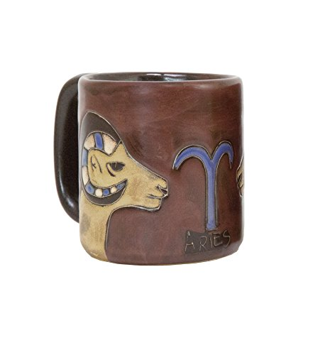 Coffee Cup Collectible - One (1) MARA STONEWARE COLLECTION - 16 Oz Coffee Cup Collectible Dinner Mug - Zodiac Sign - Aries The Ram Design