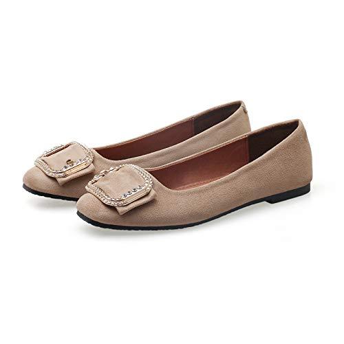 FLYRCX Los Zapatos del Trabajo de Las Mujeres Forman los Zapatos de tacón bajo los Zapatos Planos de la Boca D