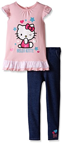 Hello Kitty Toddler Outfit (Hello Kitty Little Girls' Toddler 2 Piece Woven T-Shirt and Legging Set, Pink,)