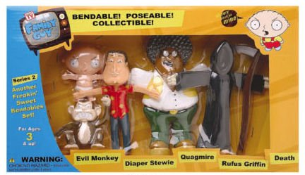 (Family Guy Bendable Figures Set - Evil Monkey, Quagmire, Stewie, Death and Rufus Griffin by NJC )