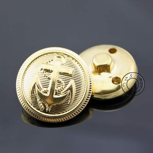 Maslin 15-25mm Gold Color Anchor Buttons Fashion Metal Shank Button,Bulk Craft Buttons Wholesale Price - (Color: 20mm 18pcs)