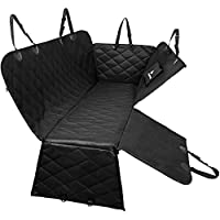 Back Seat Cover for Dogs | Dog Car Hammock with Door Protector from Dog Scratching | Pet Seat Cover for Car, SUV, Truck with 2 Headrest Covers, Collapsible Bowl, Dog Seat Belt