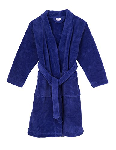 TowelSelections Big Girls' Robe, Kids Plush Kimono Fleece Bathrobe Size 10 Blue Iris