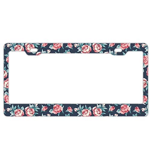 - Retro Pink Rose Pattern Customized Car License Plate Frame For Women Pretty Cute Auto License Plate Frame Humor