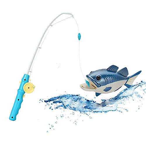 - Fishing Game Toy for Kids and Toddlers with Realistic Swimming Fish, Best Bathtub Floating Blue Fish with Easy to Turn Rod, Safe and Fun Bathtime Pool Activity, Cool Unique Gift Idea for Children