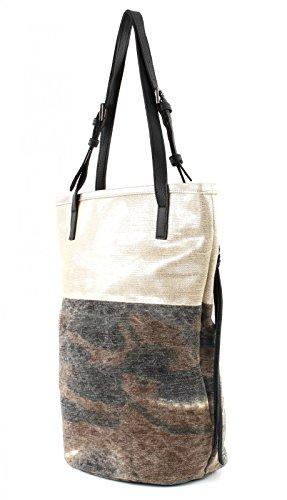 FREDsBRUDER Damen Shopper ROADTRIP Zweigeteiltes Muster Camouflage Blue (Braun / Grau / Grün)
