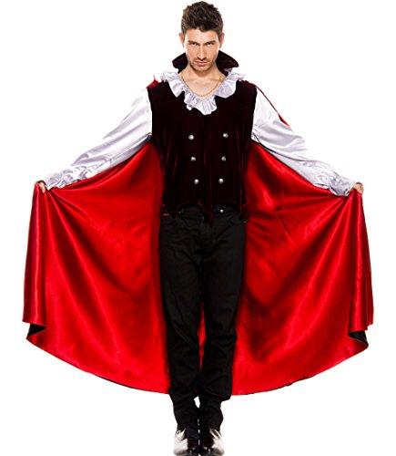 MUSIC LEGS Men's Vampire, Black/Red, Large (Sexy Male Vampire Costume)