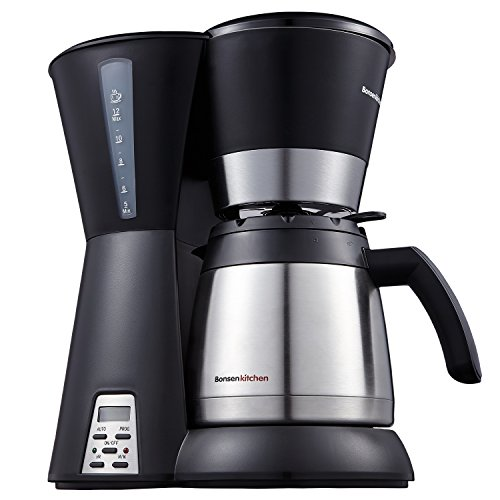 (Bonsenkitchen CM8761 10-12 Cup One-Touch Coffee Maker with Stainless Steel Vacuum Thermal Carafe 42oz (1.2L) & Permanent Filter)