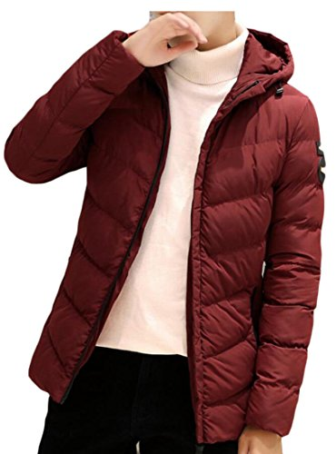 amp;W Wine Warm Sleeve Long Red Hoodies Puffer amp;S M Jackets Men Down Z1nx5Owv