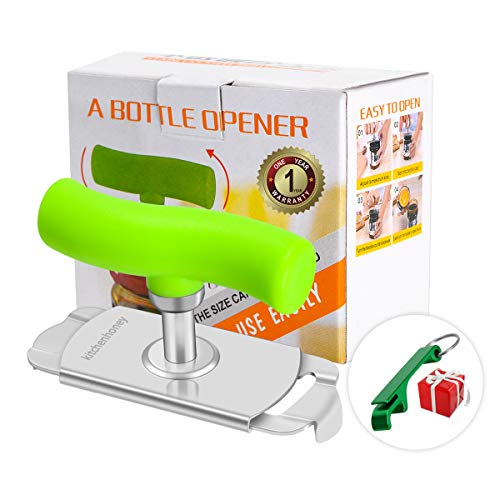 Jar Opener Arthritis can opener stainless steel  Lids Off  Labor-saving 360 Degree Rotation for 1-3.7inch Cover with Free Bottle Opener Keychain Included