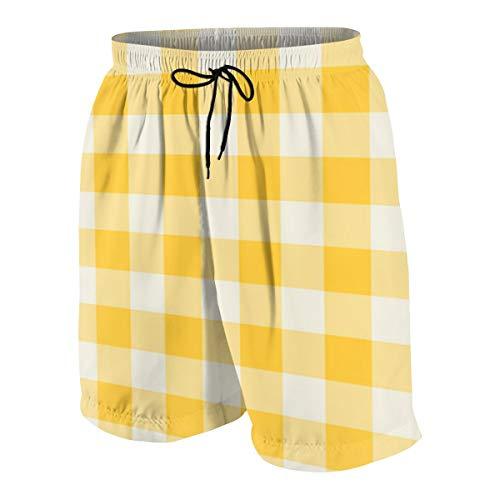 (QJDIAK Funhouse Gingham in Lemon Yellow Wallpaper (6930) Men's Echelon Swim Trunks)
