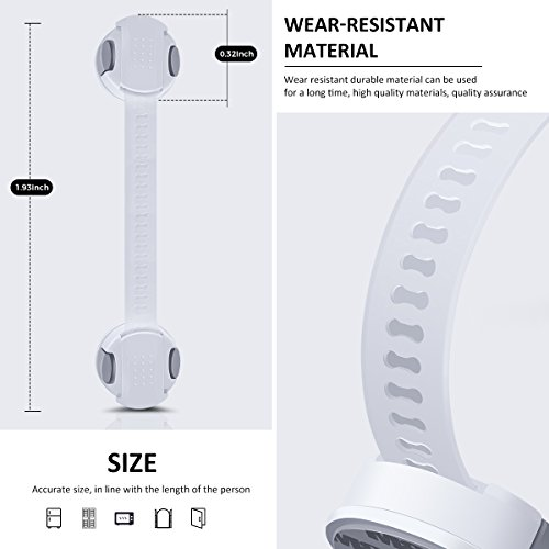 Baby Safety Locks, DUSA Child Proof Cabinets : [UPDATE VERSION] Dual Button Operation, Adjustable Strap, Uses 3M Adhesive For Drawers, Appliances, Toilet Seat, Fridge - (6 - Pack)