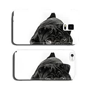 Black pug dog isolated on white background cell phone cover case iPhone5
