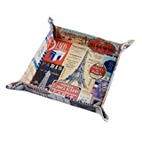 KathShop 1PC Vintage Paris City Eiffel Tower Stamp Retro PU Leather Mens Catchall Change Key Wallet Coin Box Storage Tray Valet